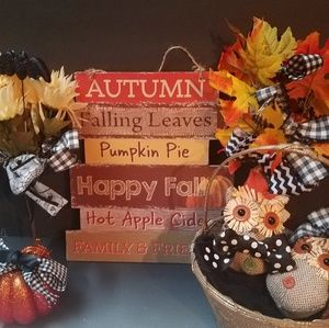 FALL7pc decor sign florals pumpkin basket owls